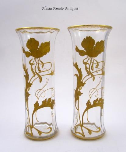 Pair of Small Antique St Louis Vases
