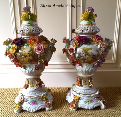 Tall Pair of Antique Porcelain Vases