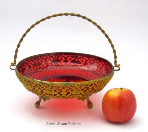 Antique French Cranberry & Dore Bronze Basket