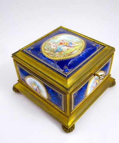 Antique High Quality French Enamelled Casket