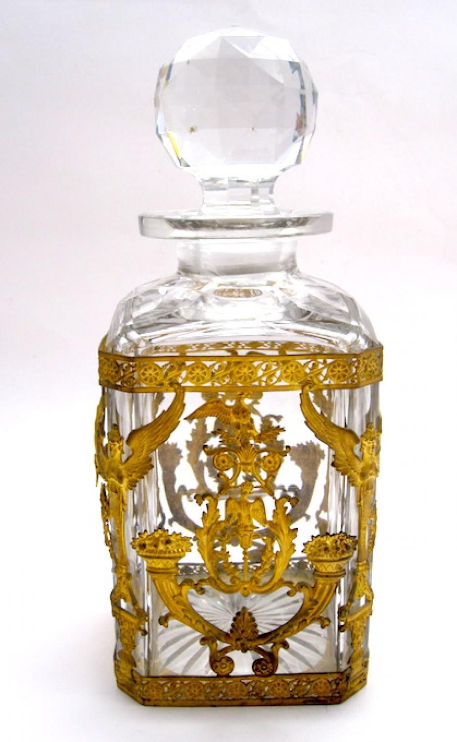 Large Napoleon III Crystal & Bronze Bottle