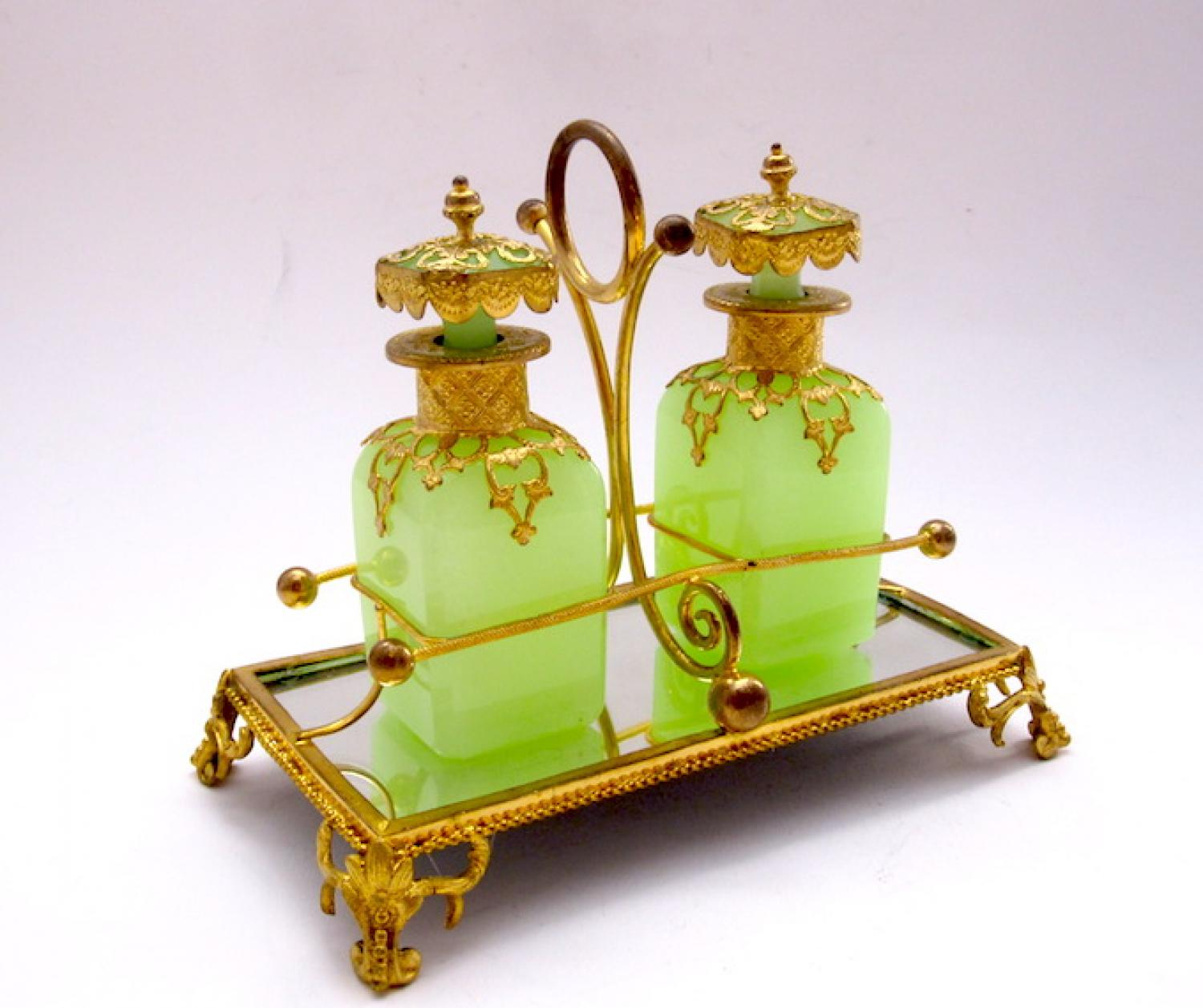 Antique French Opaline Double Perfume Set
