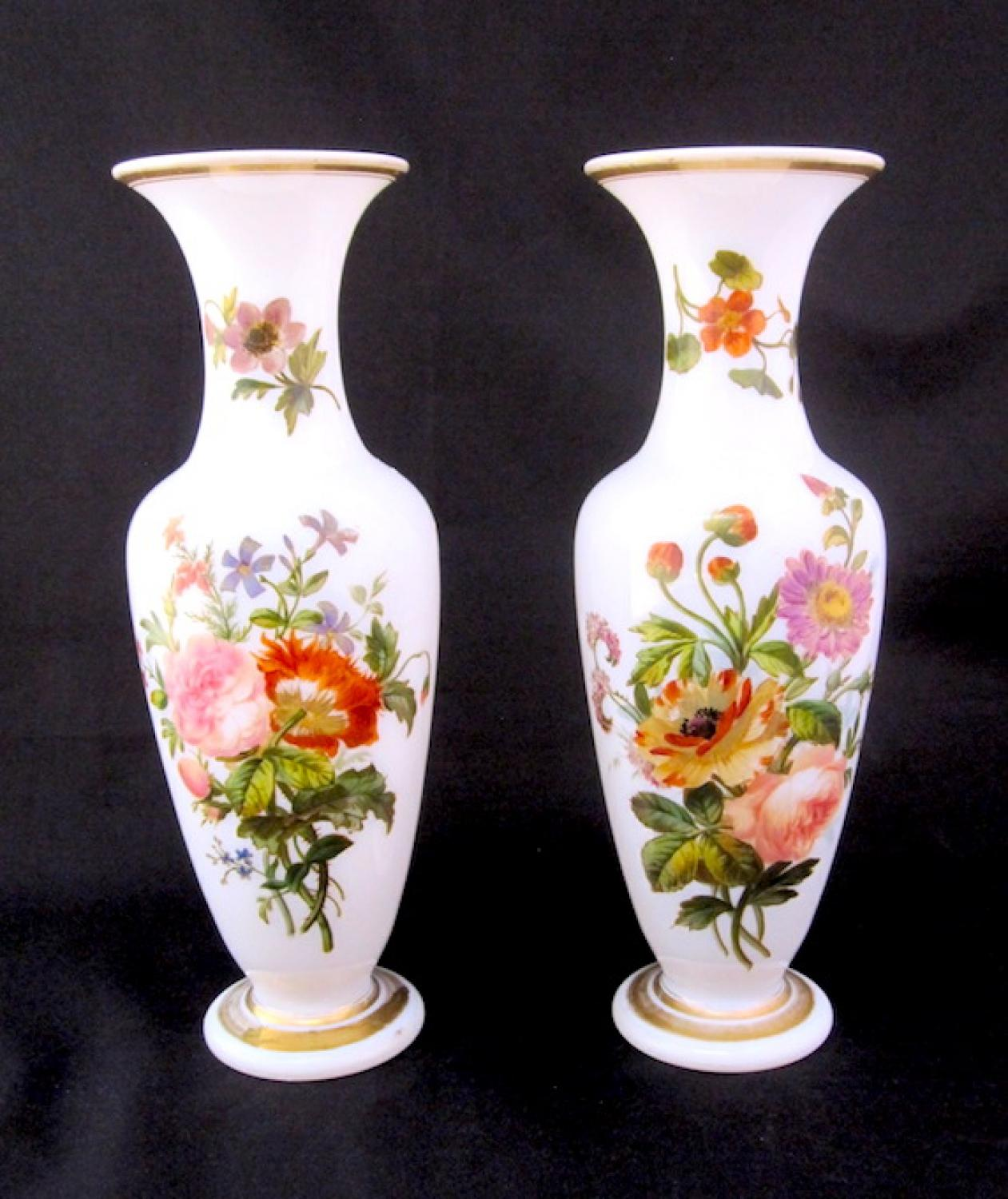 Pair Baccarat French Opaline Glass Vases