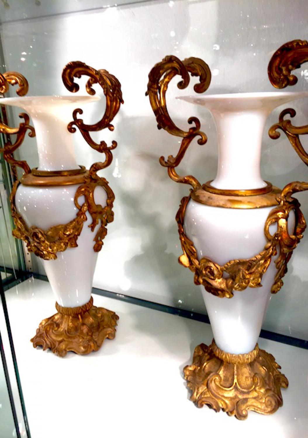 Antique Pair French Opaline & Bronze Vases