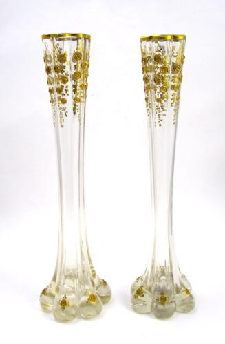 A Tall Pair Of Unusual St Louis Vases In Sold French Crystal