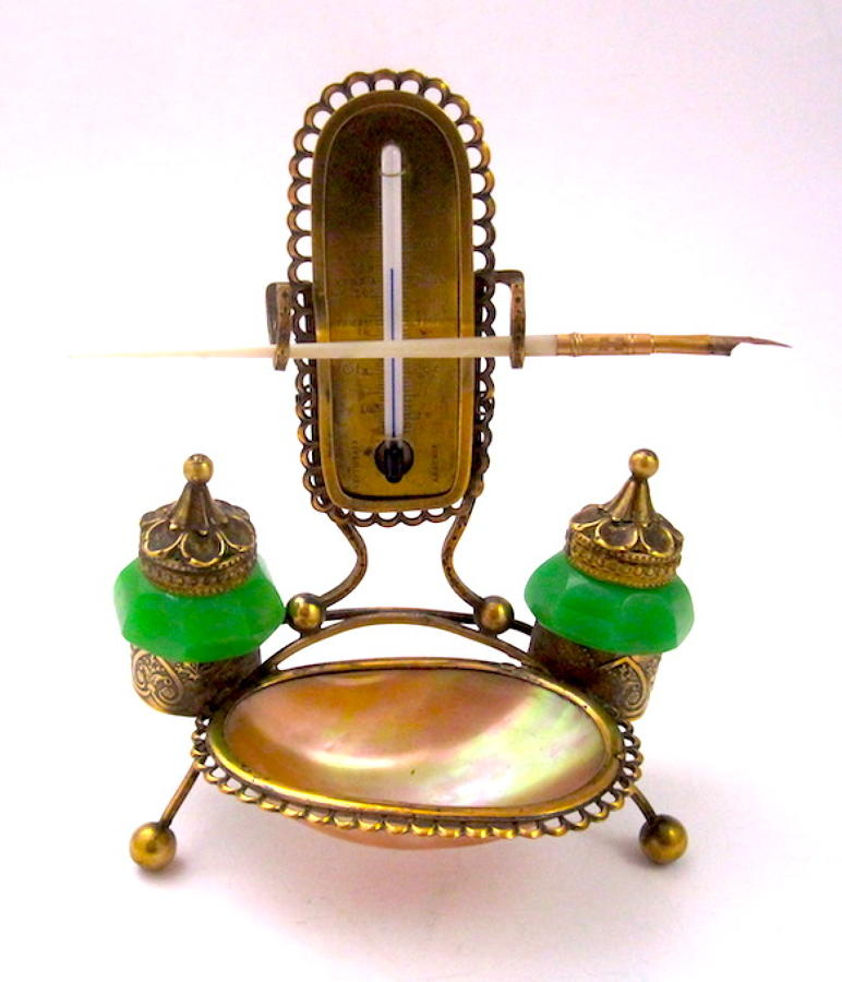 Palais Royal Green Opaline Glass Inkwell