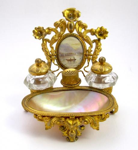 Palais Royal Antique Mother of Pearl Inkwell