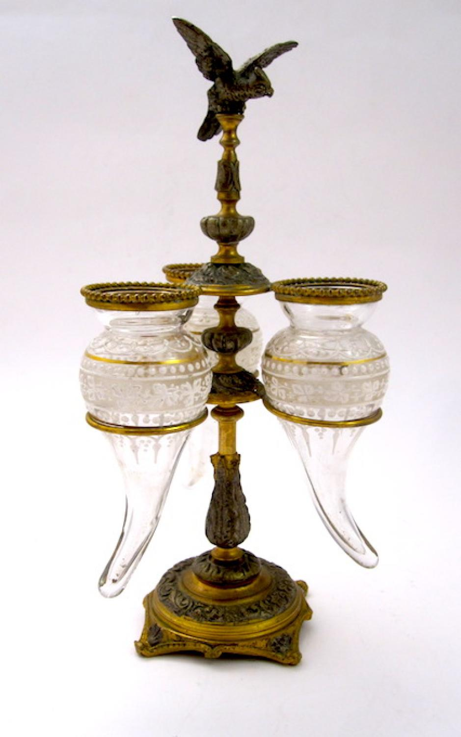 Antique French Crystal & Bronze Epergne