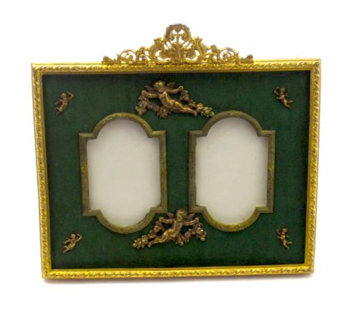 Napoleon III Dore Bronze & Silk Double Frame in SOLD - French ...