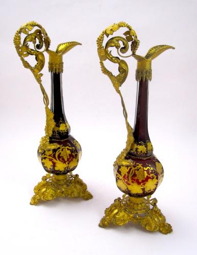 Pair Antique Bohemian Ruby Red Glass Vases