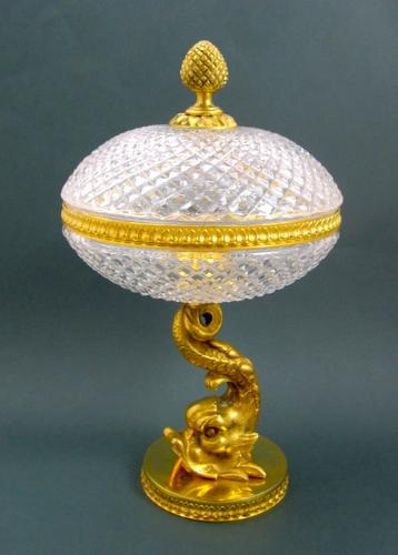 Antique French Crystal Dolphin Tazza