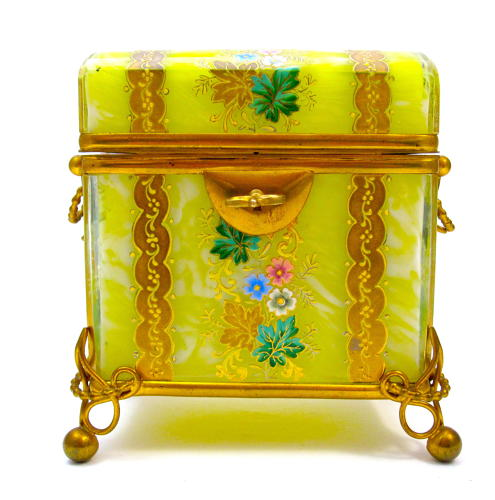 Antique Bohemian MOSER Yellow Glass Casket