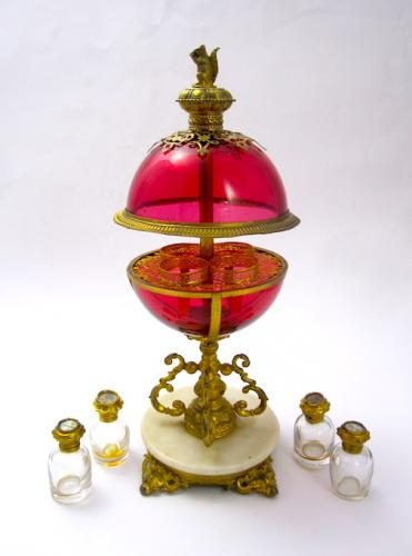 Super French Ruby Red Perfume Glass Casket