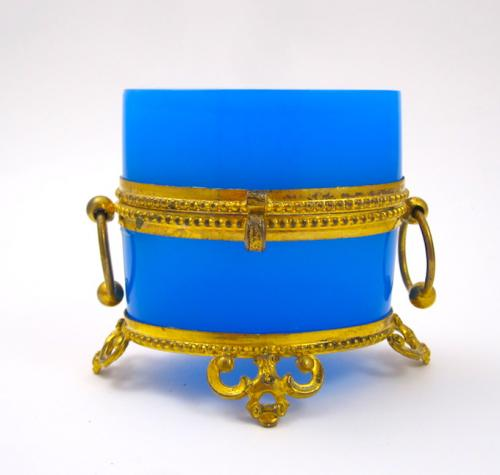 Antique French Blue Opaline Miniature Casket
