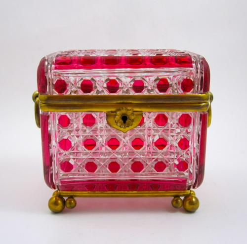 Antique Baccarat Cranberry Cut Glass Casket