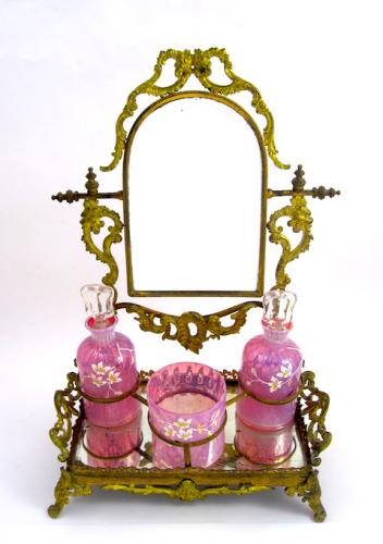 Antique Pink Opaline Dressing Table Set