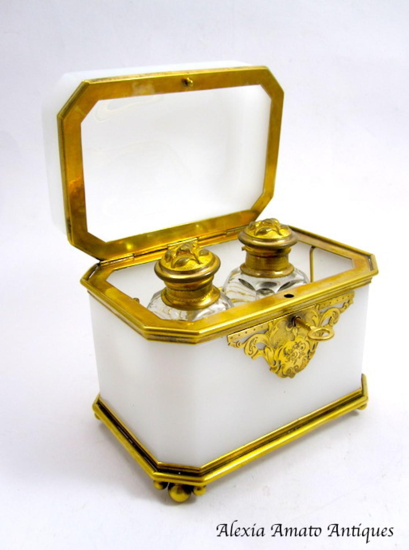 Antique BACCARAT Opaline Perfume Casket