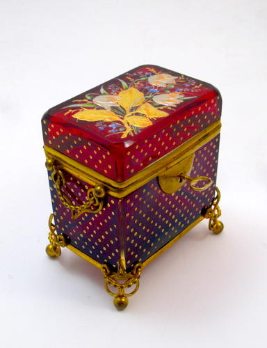 Antique Moser Red Enamelled Casket Box