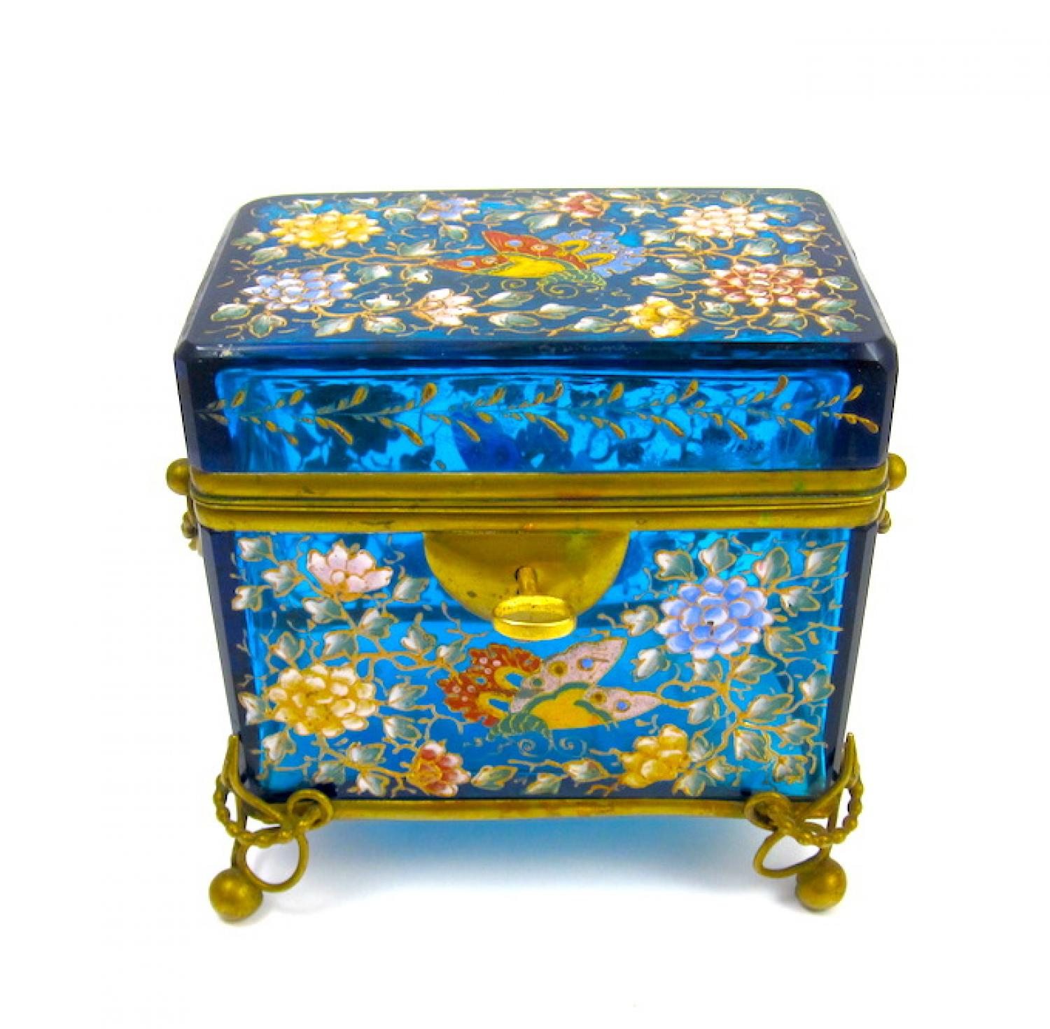 Antique Moser Blue Glass Enamelled Casket