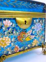 Antique Moser Blue Glass Enamelled Casket - picture 5