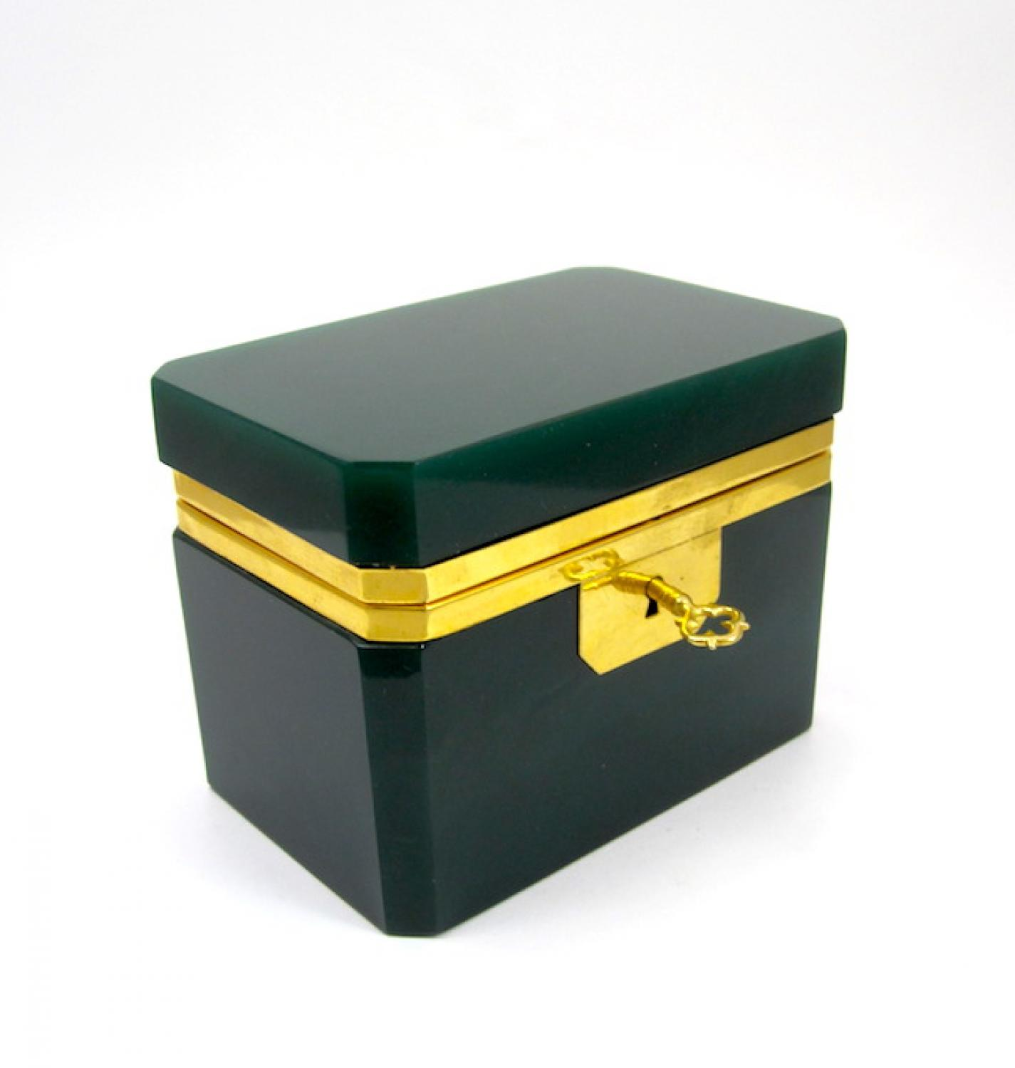 Italian Murano Dark Green Glass Casket Box