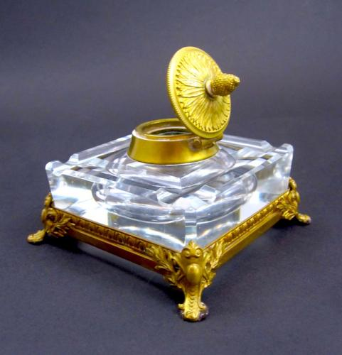Antique Napoleon III Crystal & Bronze Inkwell