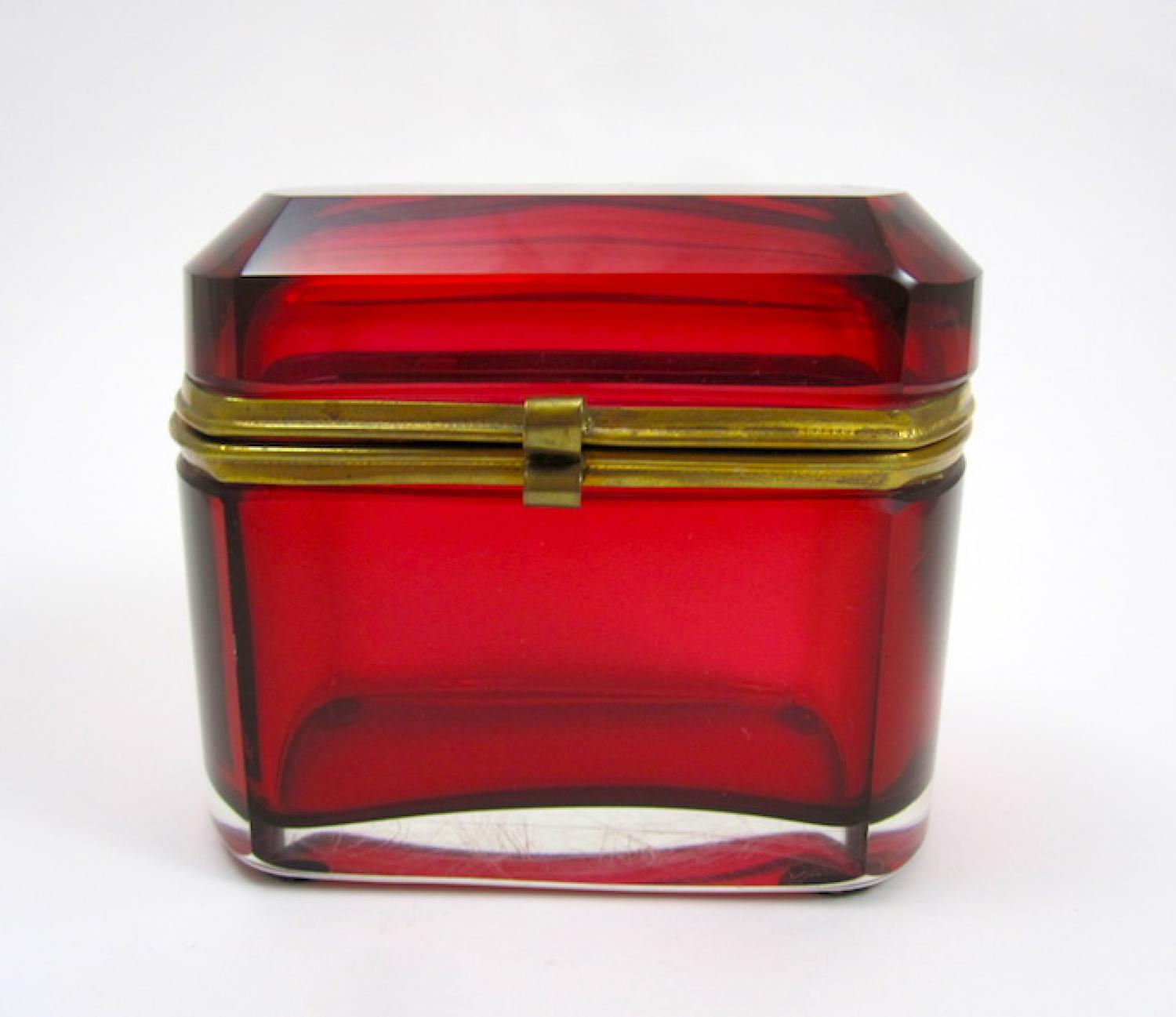 Antique French Cranberry Glass Casket Box