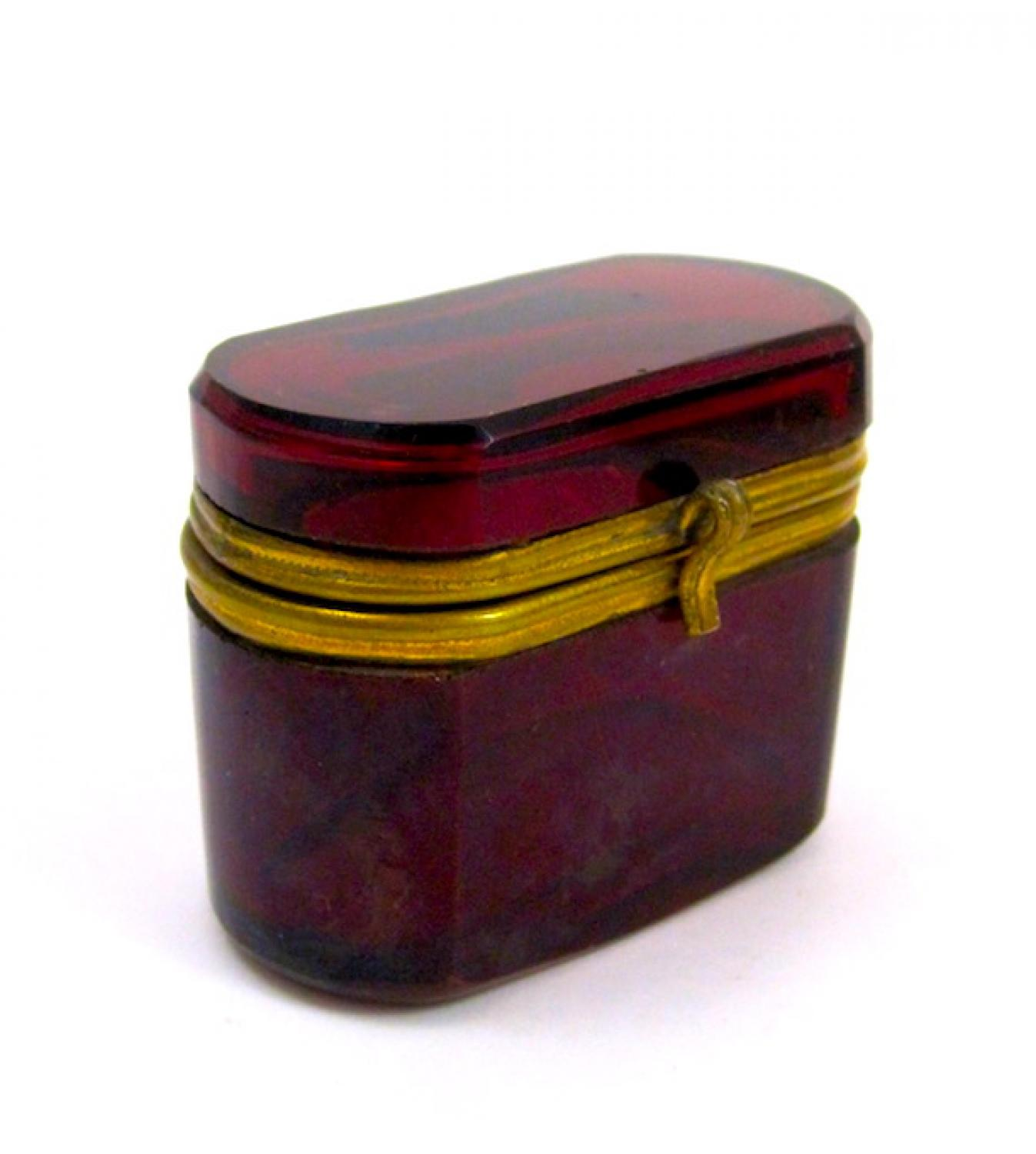 Antique Miniature French Red Glass Casket.