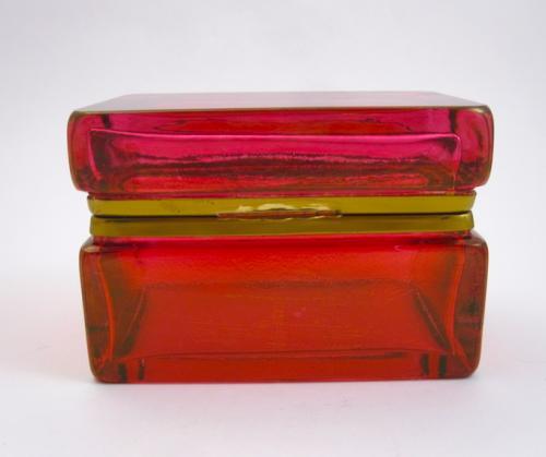 Italian Murano Cranberry Glass Casket Box