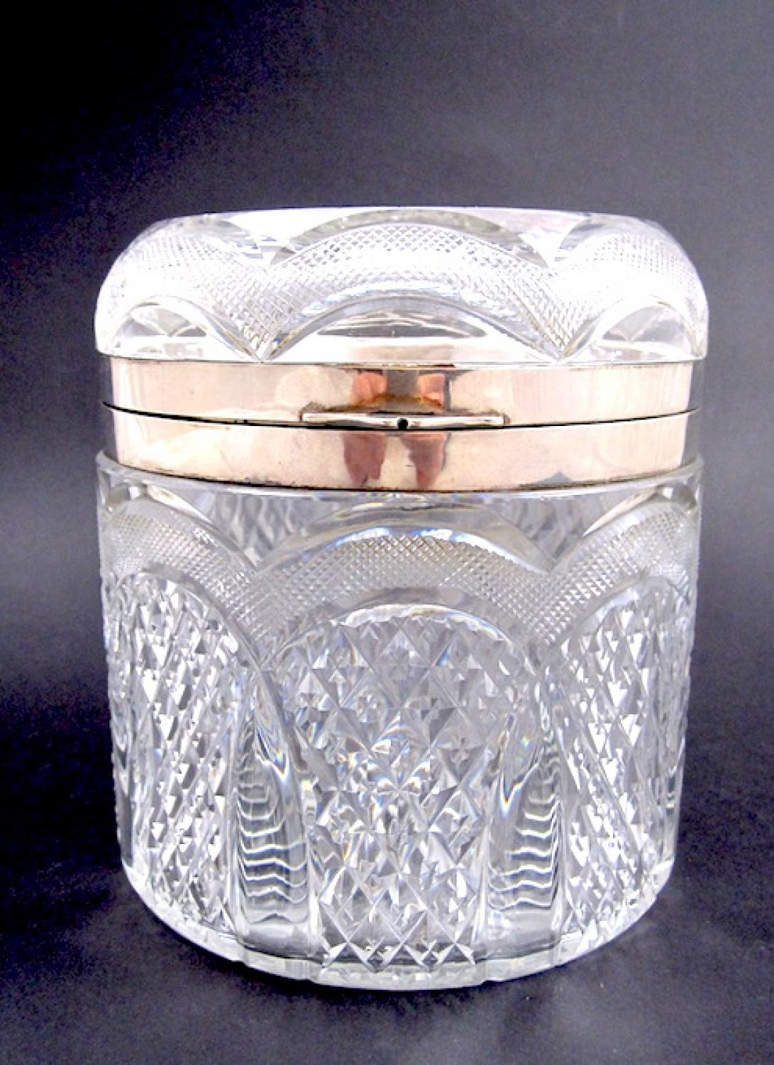 Antique Cut Crystal Casket with Silver Mounts