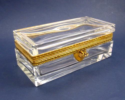 Antique Recatngular Cut Glass Casket Box