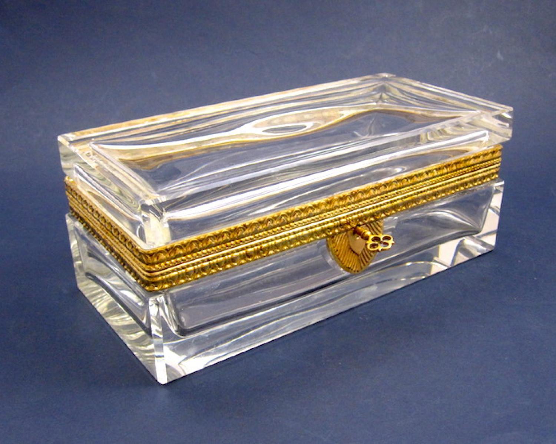 Antique Recatngular Cut Glass Casket Box