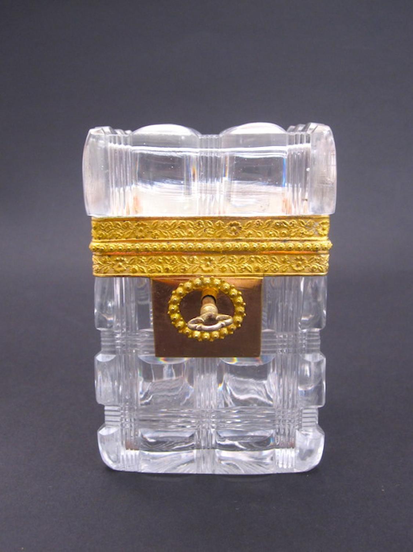 Antique Baccarat Cut Crystal Casket Box & Key