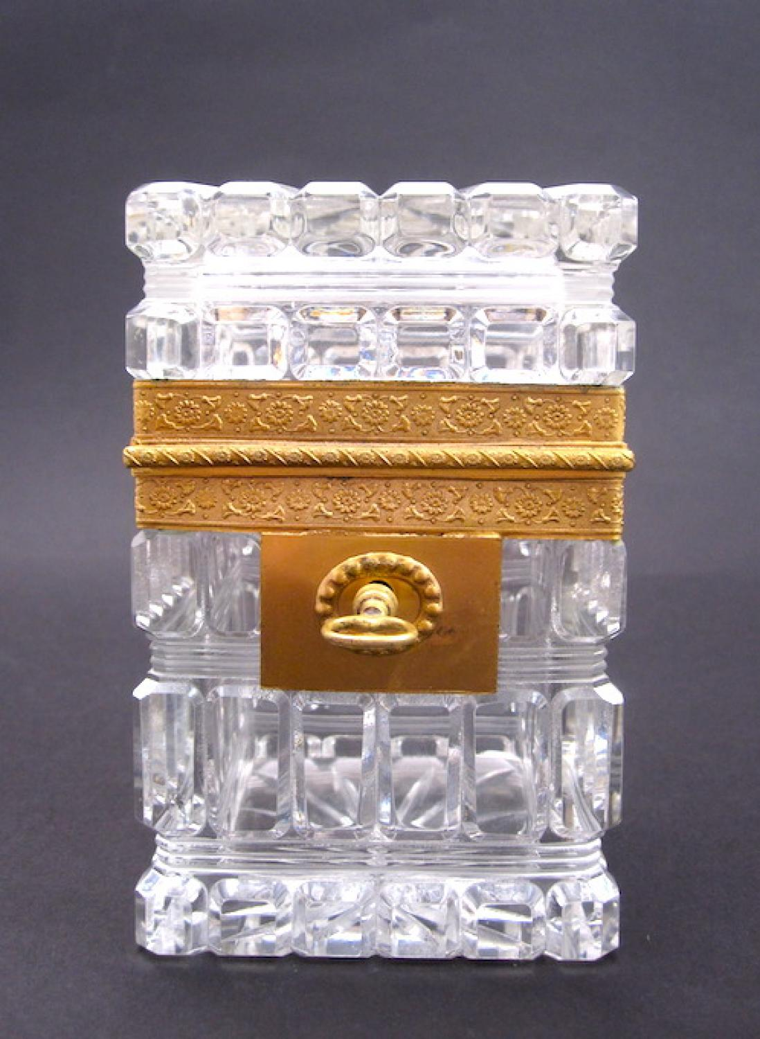 Antique Baccarat Cut Crystal Casket Box & Key