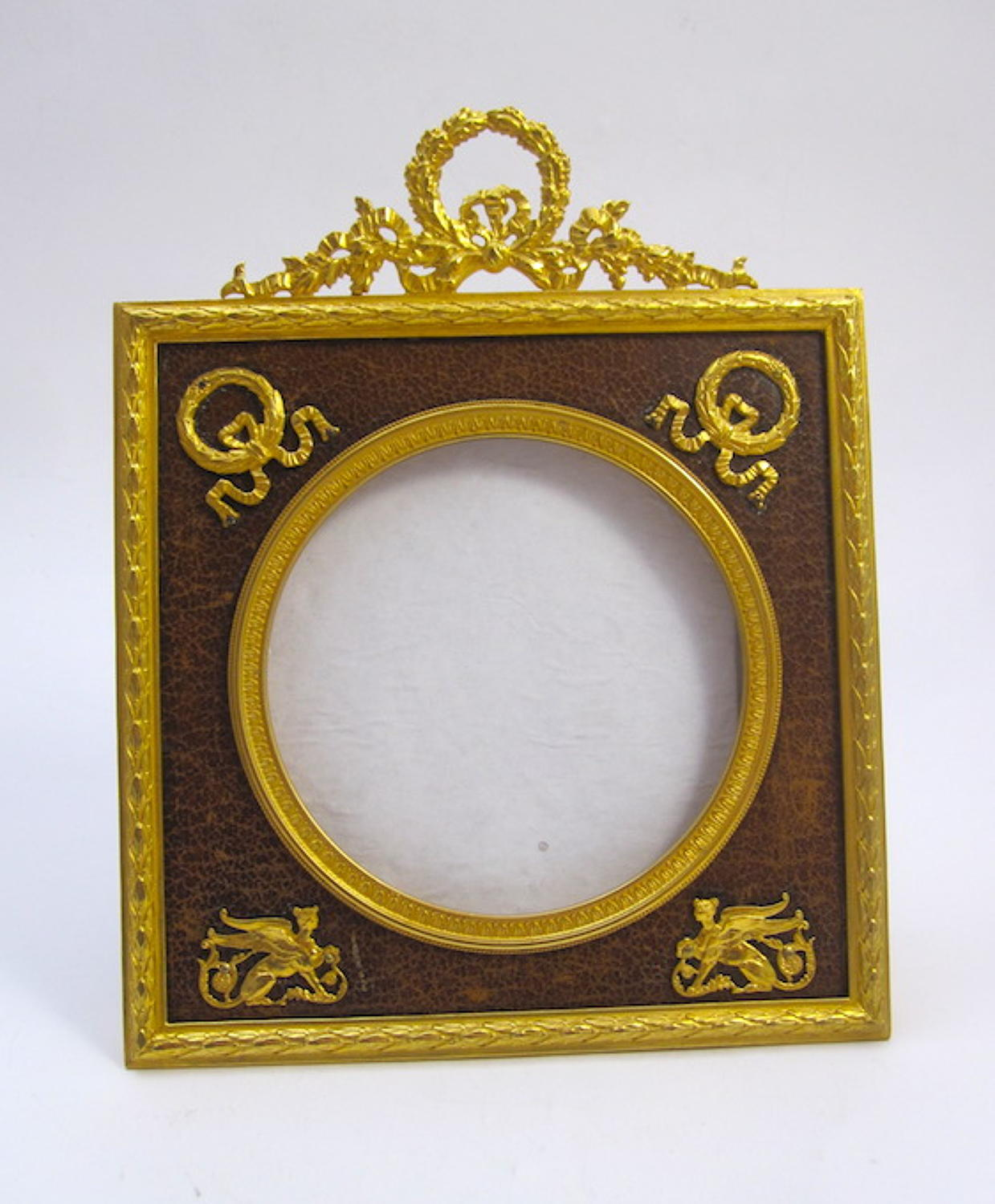 Antique Empire Dore Bronze & Leather Frame