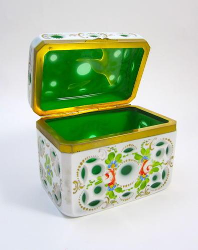 Antique Bohemian Overlay Casket Box
