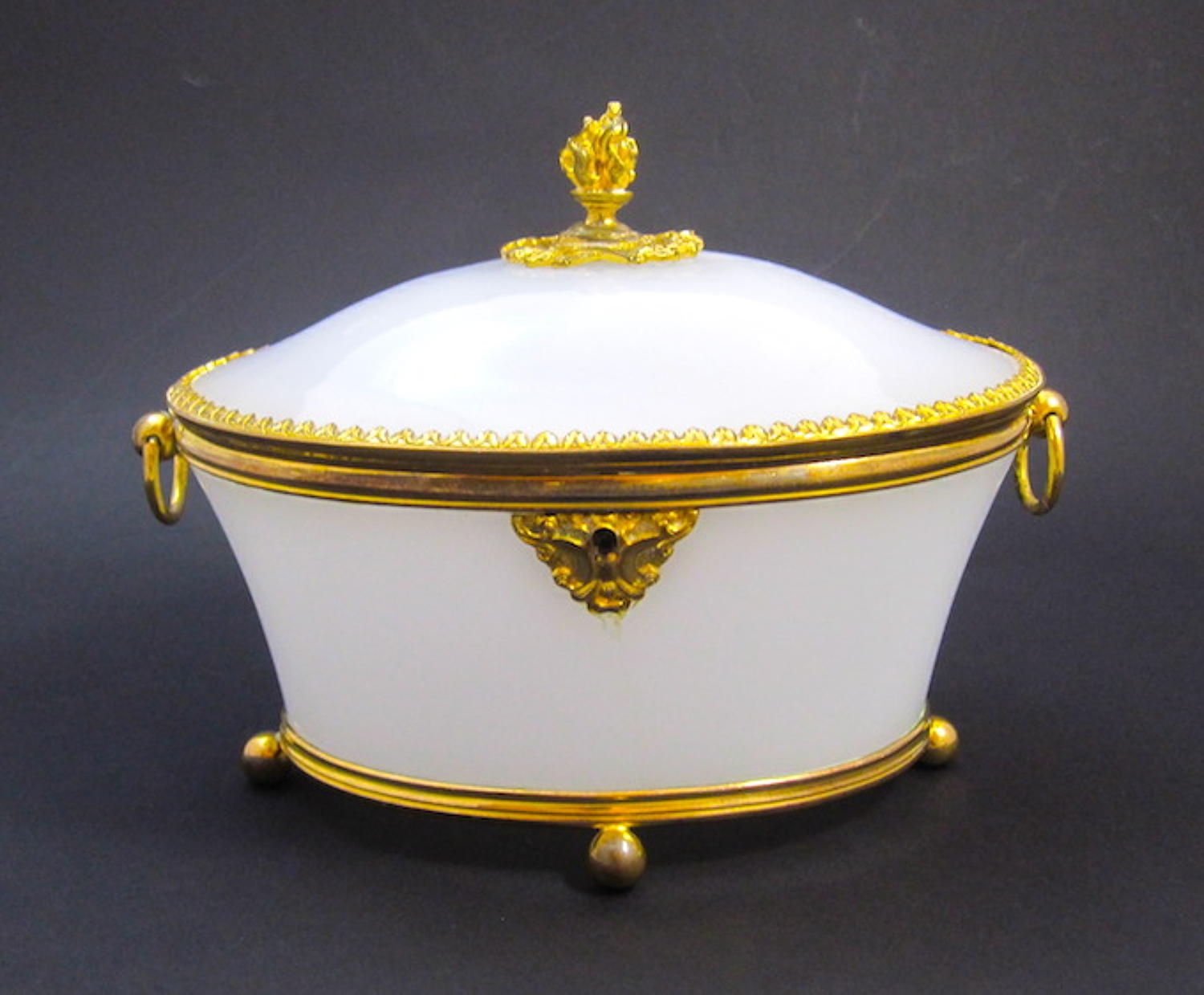 Antique French Opaline Glass Casket Box