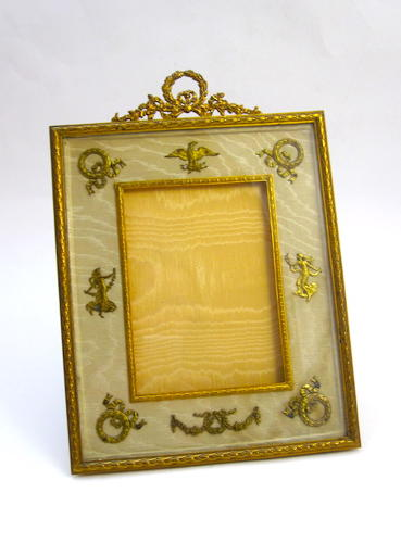 Antique Empire Dore Bronze & Silk Frame