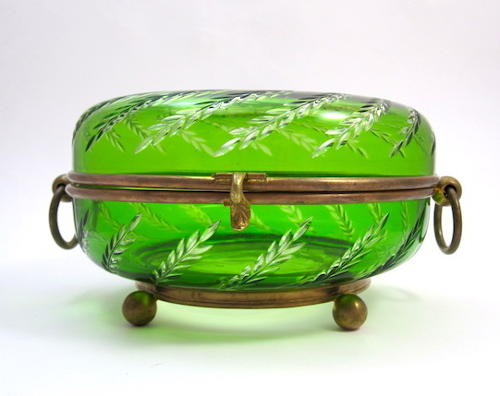 Antique French Green Crystal Round Casket Box