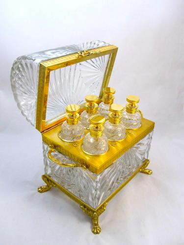 Monumental French Cut Crystal Perfume Casket