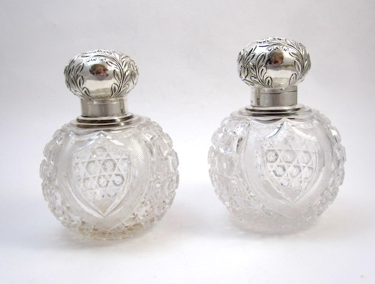 Pair Mappin & Webb Crystal & Silver Bottles