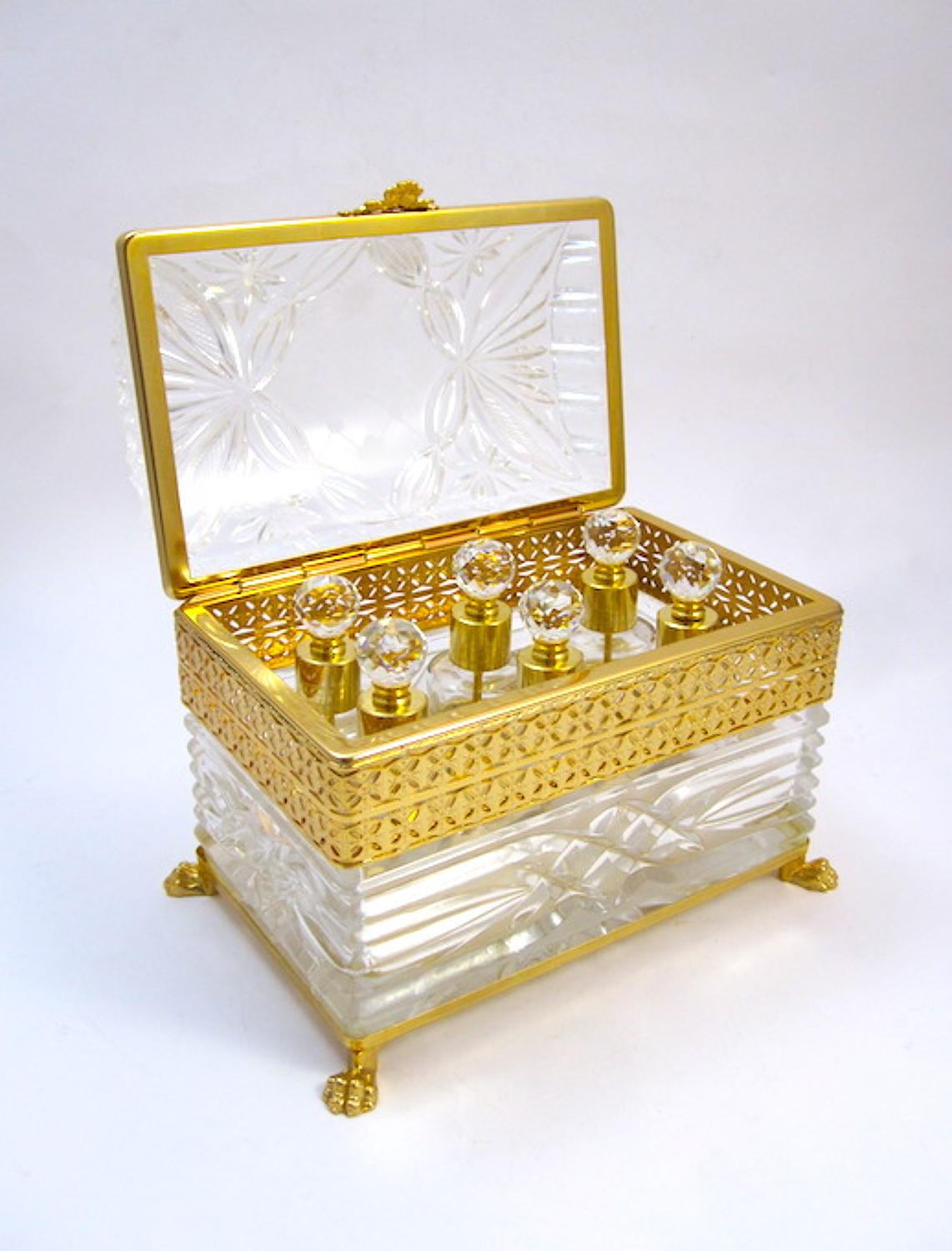 Antique French Crystal Perfume Casket Box