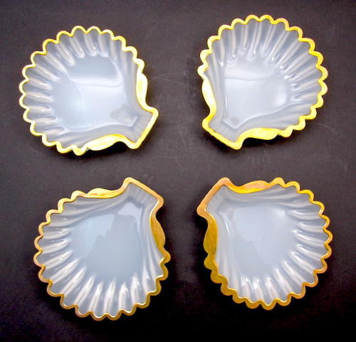 Set of Antique French Opaline Scallop Dishes