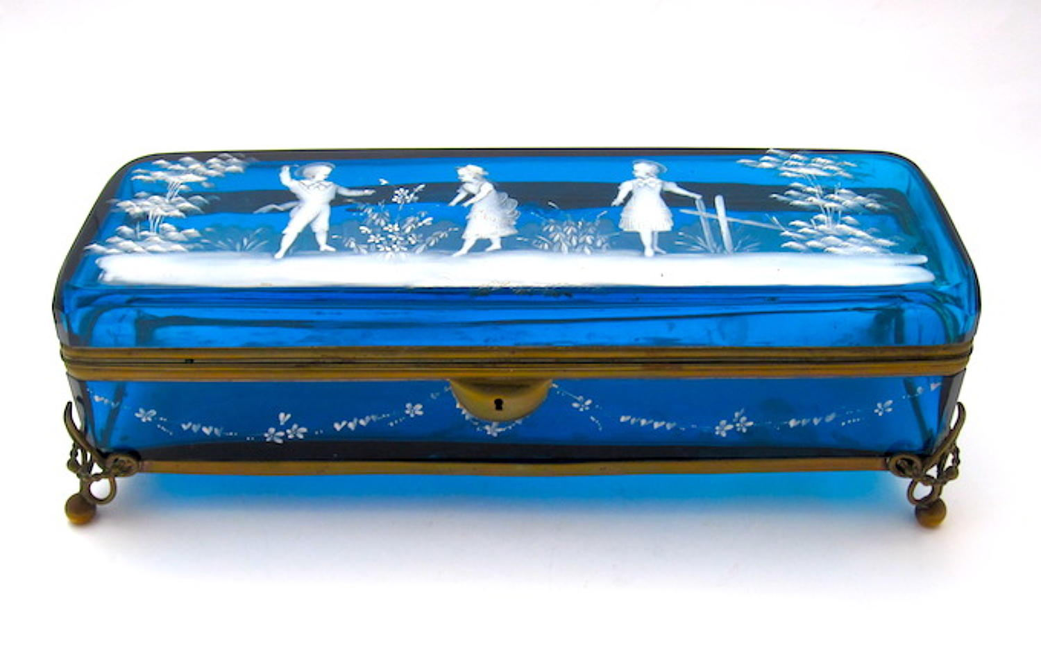 Antique Mary Gregory Turquoise Glass Casket