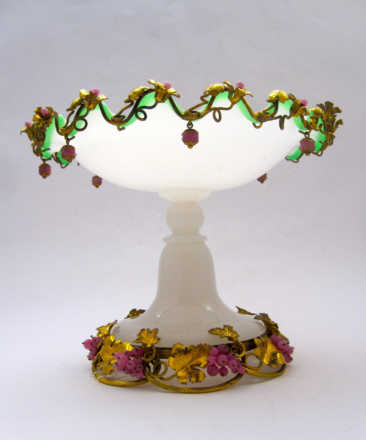 Antique French Opaline Glass Tazza
