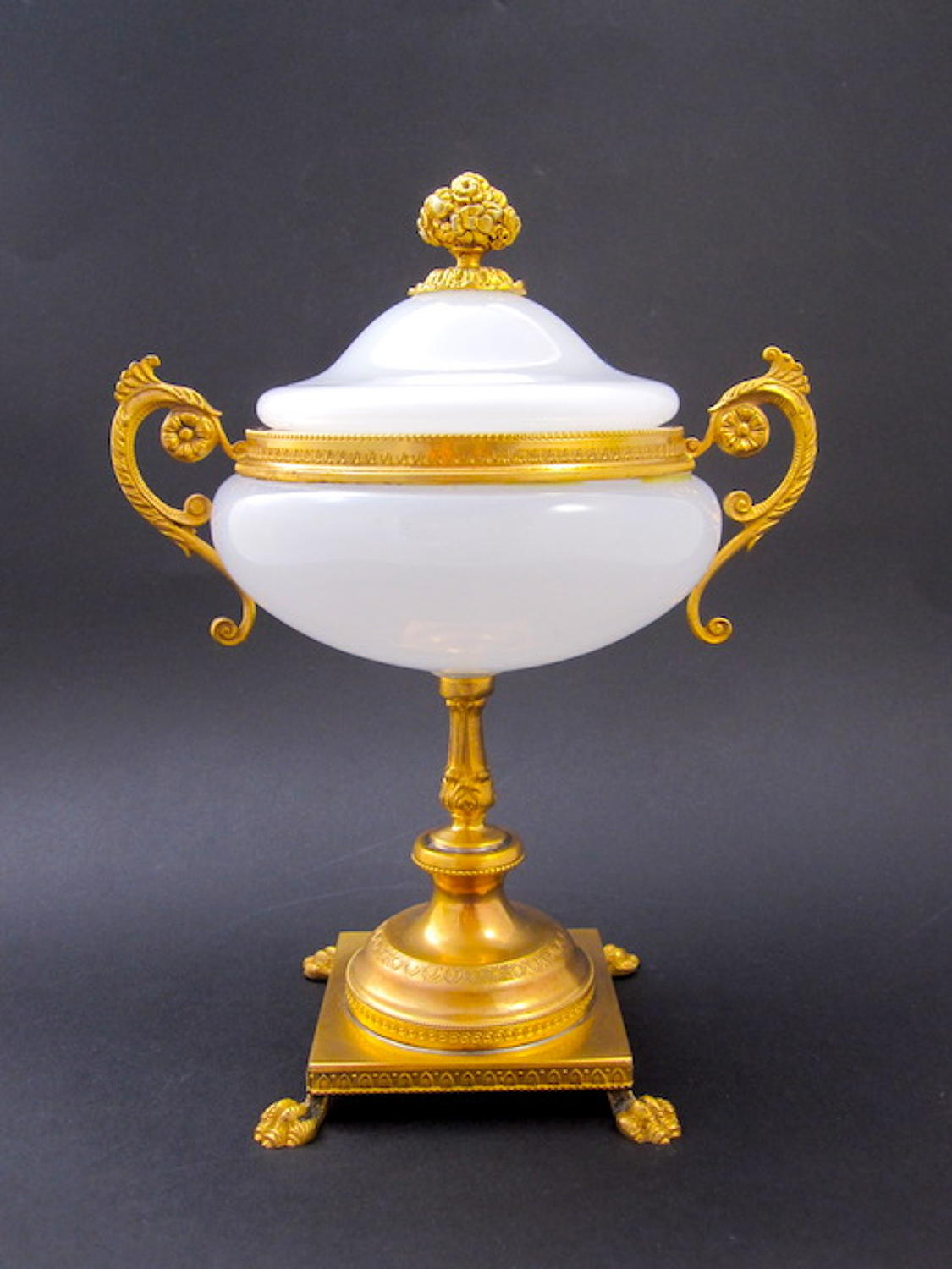 Antique French Opaline and Bronze Centrepiece