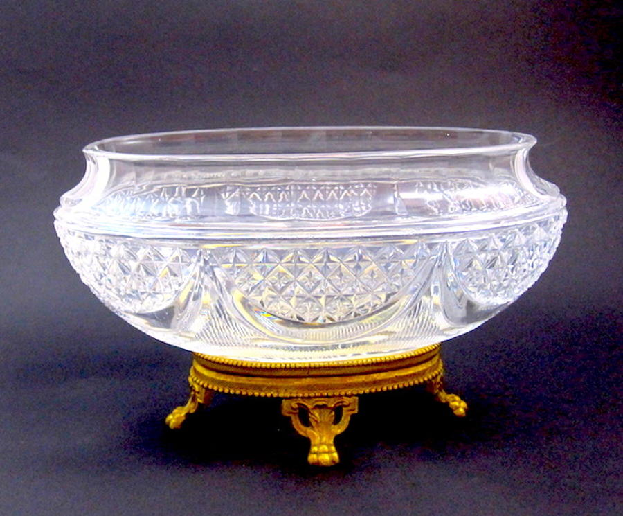 Antique French Crystal & Bronze Jardiniere
