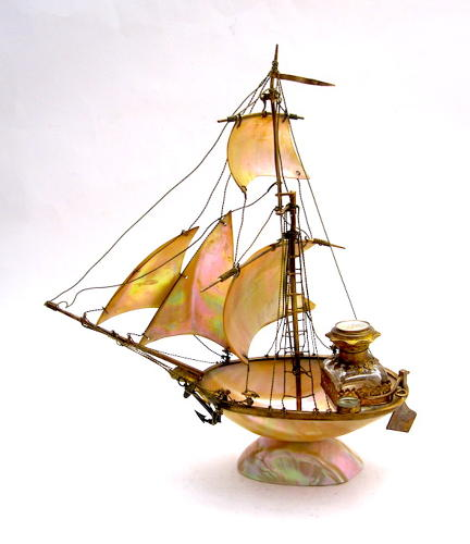 Antique French Mother of Pearl Boat Perfume