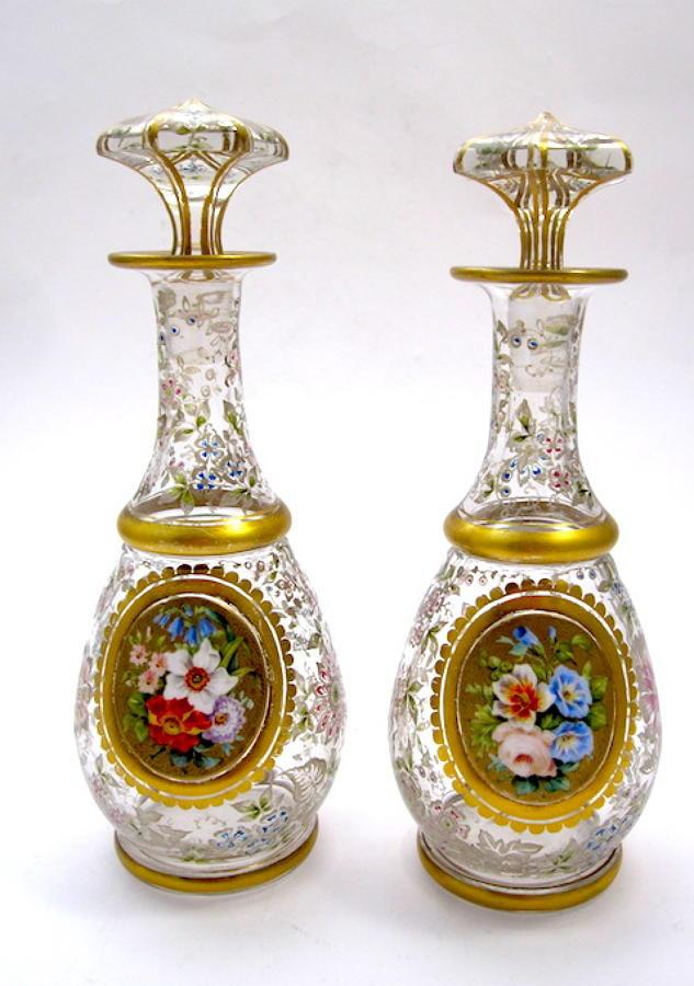Pair Antique Bohemian Perfume Bottles