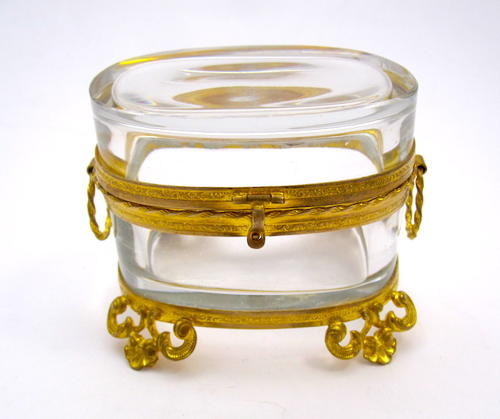 Antique Miniature French Oval Casket Box